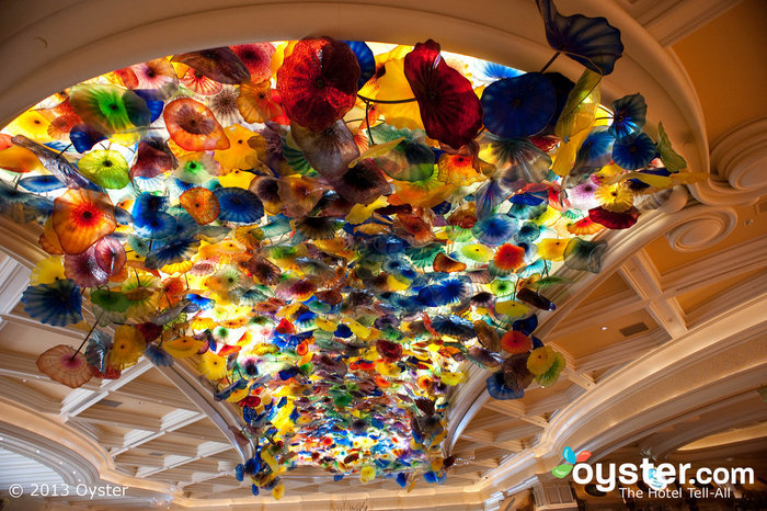 Dale Chihuly's glass ceiling sculpture is the centerpiece of the lobby.