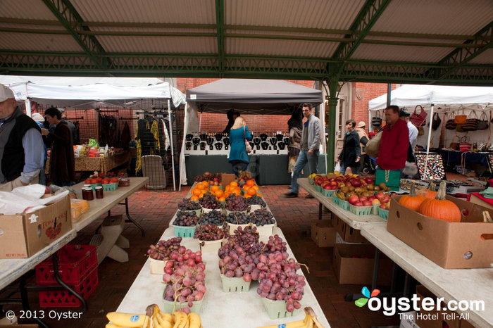 Produce stands are just across the walkway from jewelry makers at D.C.'s Eastern Market