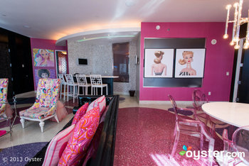 It's a pink explosion in the Barbie Suite at the Palms!