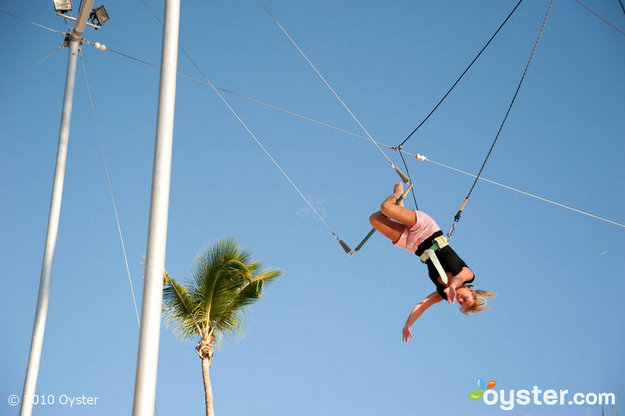 Trapeze lessons at Viva Wyndham Dominicus Palace Resort