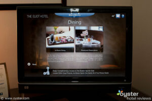 Interactive touch-screen at The Eliot Suite Hotel in Boston