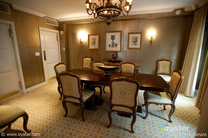 The formal dining room can accommodate up to 10 people.