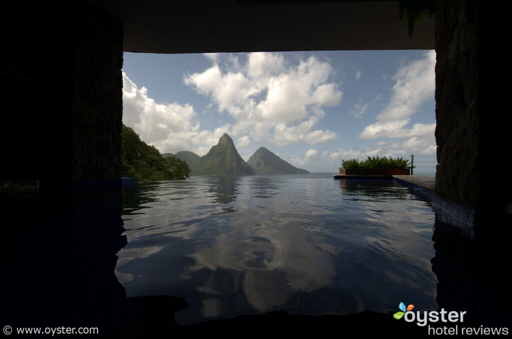 Believe it or not, we took this shot from inside a guest room at the Jade Mountain Resort in Saint Lucia. (Most rooms have a private infinity pool.)