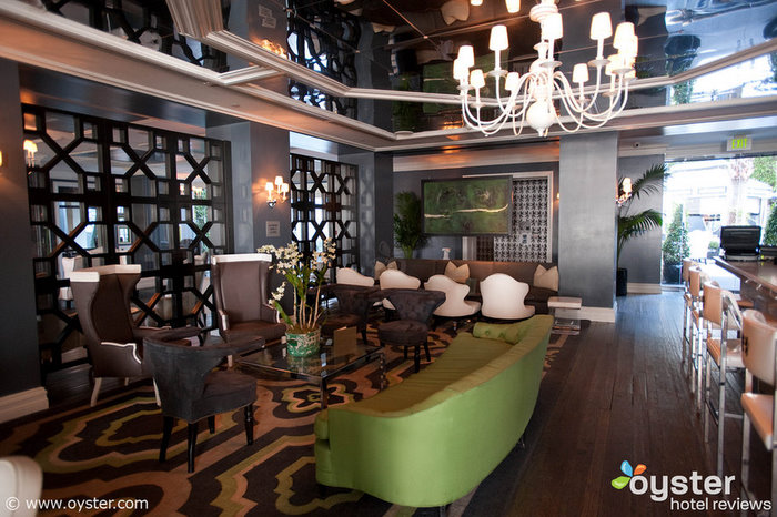 The Cameo Bar at the Viceroy Santa Monica, a popular celebrity hangout, displays Wearstler's taste for bold patterns and bright splashes of color.