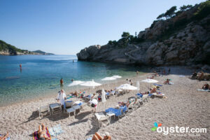 The beach at Hotel Bellevue Dubrovnik.