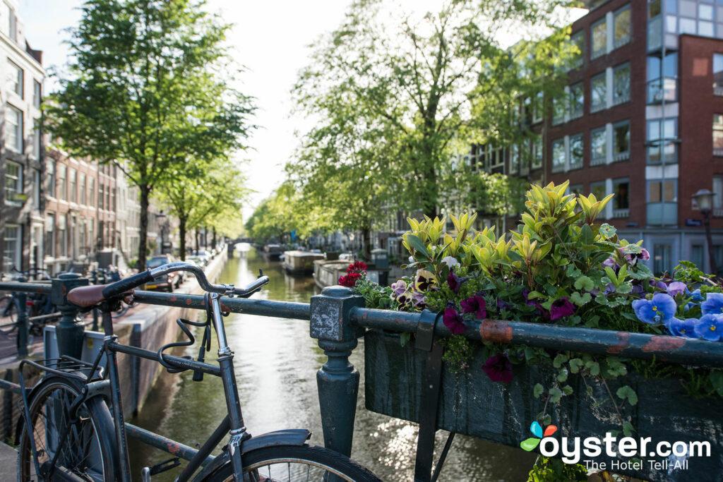 Head to the urban beach after cycling around the Jordaan neighborhood