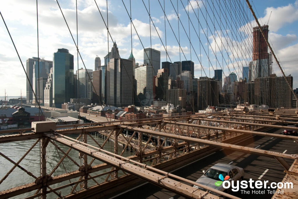 View of downtown Manhattan from the Brooklyn Bridge