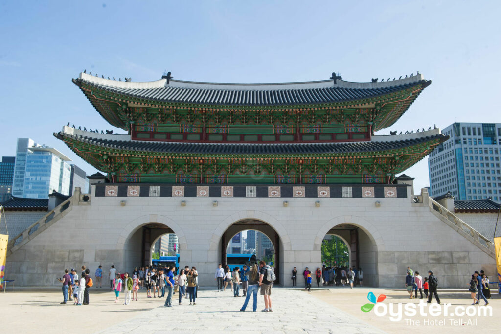 Namdaemun Gate stands imposingly amid Seoul's urban melee.