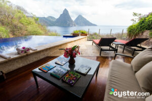 View from the Infinity Pool Sanctuary at Jade Mountain Resort/Oyster