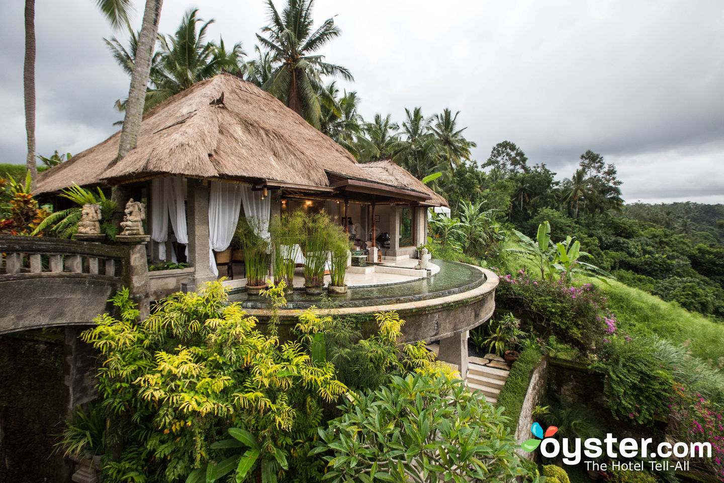 The rooms and numerous facilities, such as the spa (pictured above), overlook lush valleys.