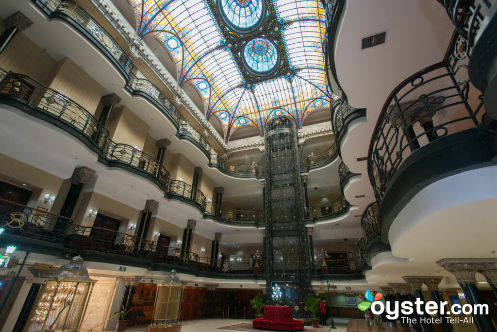 The stunning Tiffany stained-glass ceiling at Gran Hotel Ciudad de Mexico.