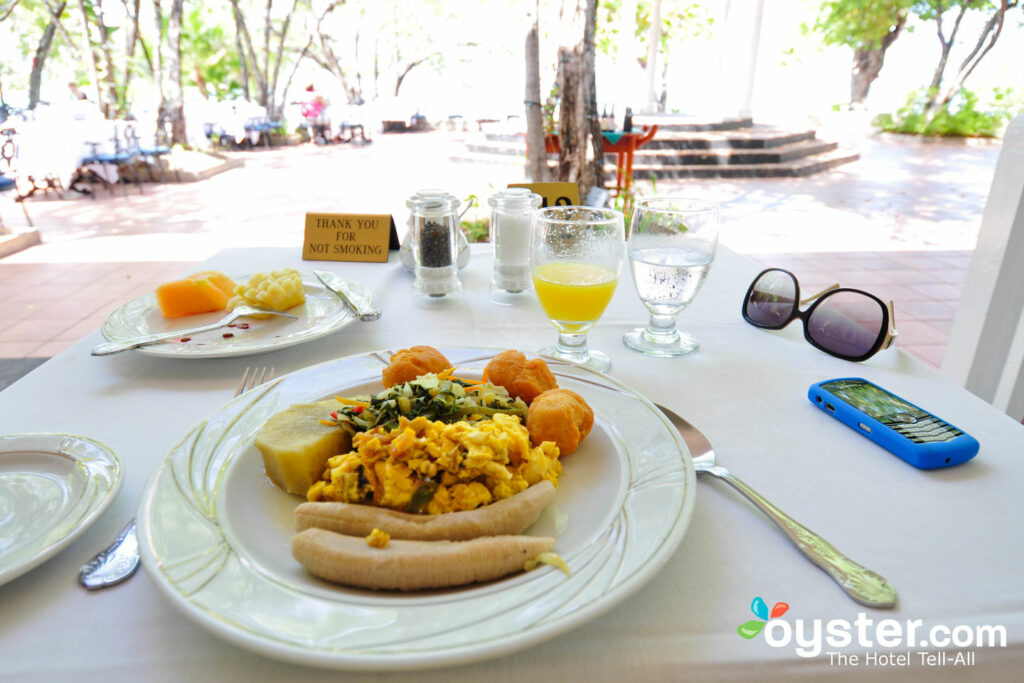 Some traditional Jamaican breakfast fare from the Sea Grape's buffet