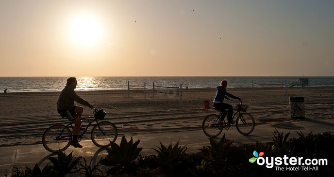 Bikers enjoy a sunset ride along Manhattan Beach in L.A.