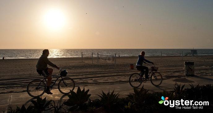 Bikers enjoy a sunset ride along Manhattan Beach in L.A.