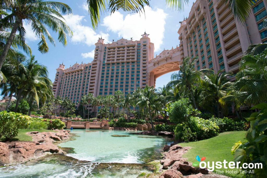The iconic pink Royal Towers at the Atlantis Bahamas.
