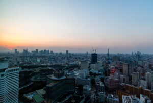 The Tokyo skyline at sunset from the Prince Gallery Tokyo Kioicho hotel