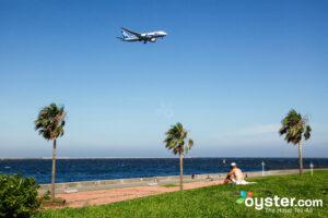 Airplane landing in Japan