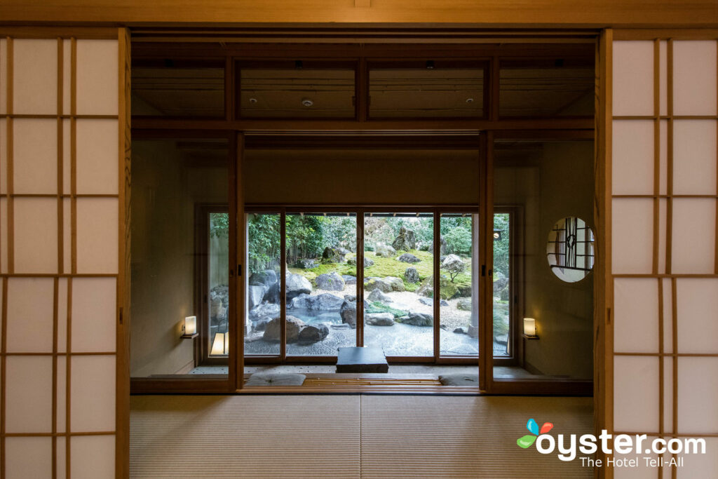 The view to your private onsen at Gora Kadan.