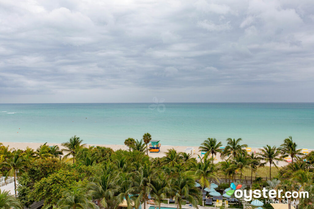 Teilweise Meerblick des Kingsize-Betts im Confidante Miami Beach