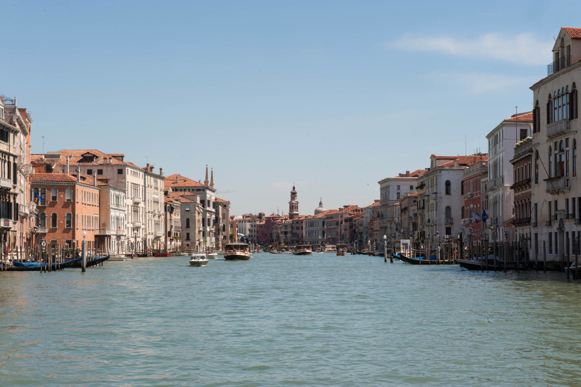 Gondolas, boats, and vaporetti on Venice's Grand Canal.