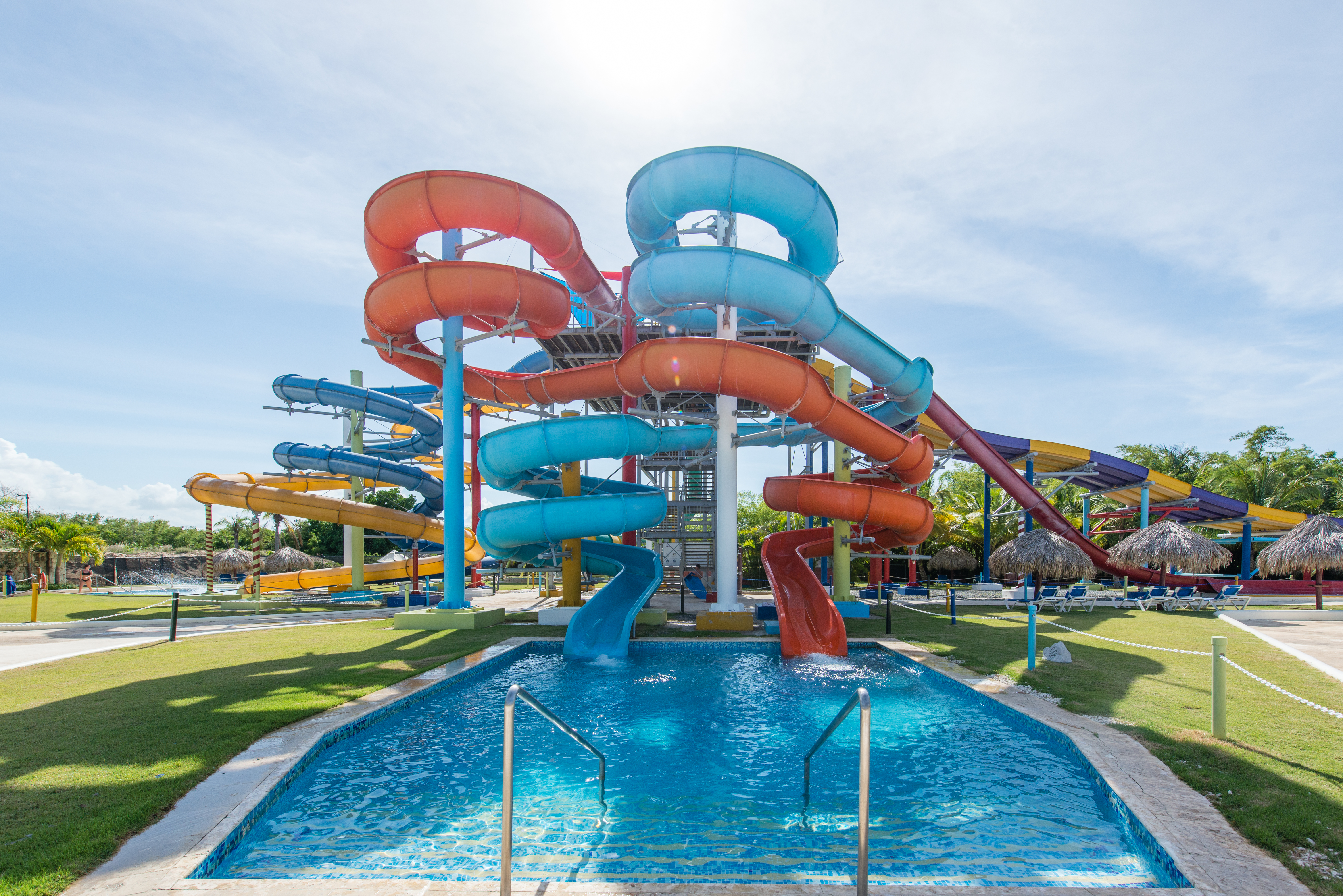 Big waterslides at Aquagames, the water park at Grand Sirenis Punta Cana