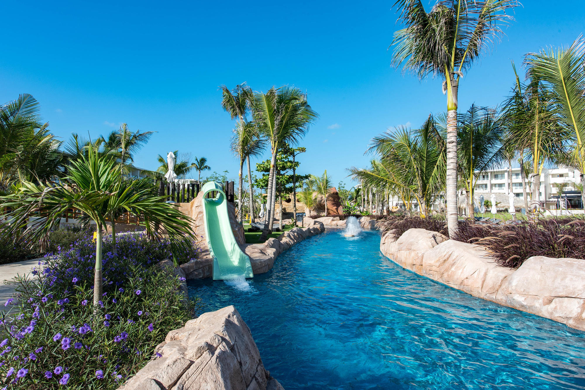The lazy river and water slides at Royalton Bavaro Resort & Spa All-Inclusive