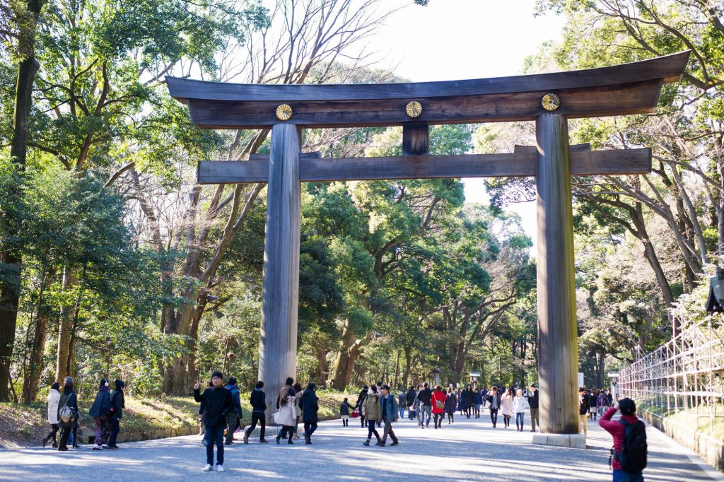 Tori gates at the Meiji Shrine in Tokyo's Yoyogi park