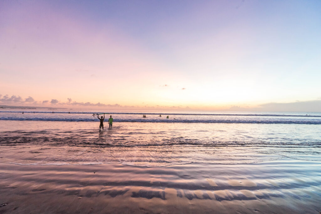 bali beach at sunset