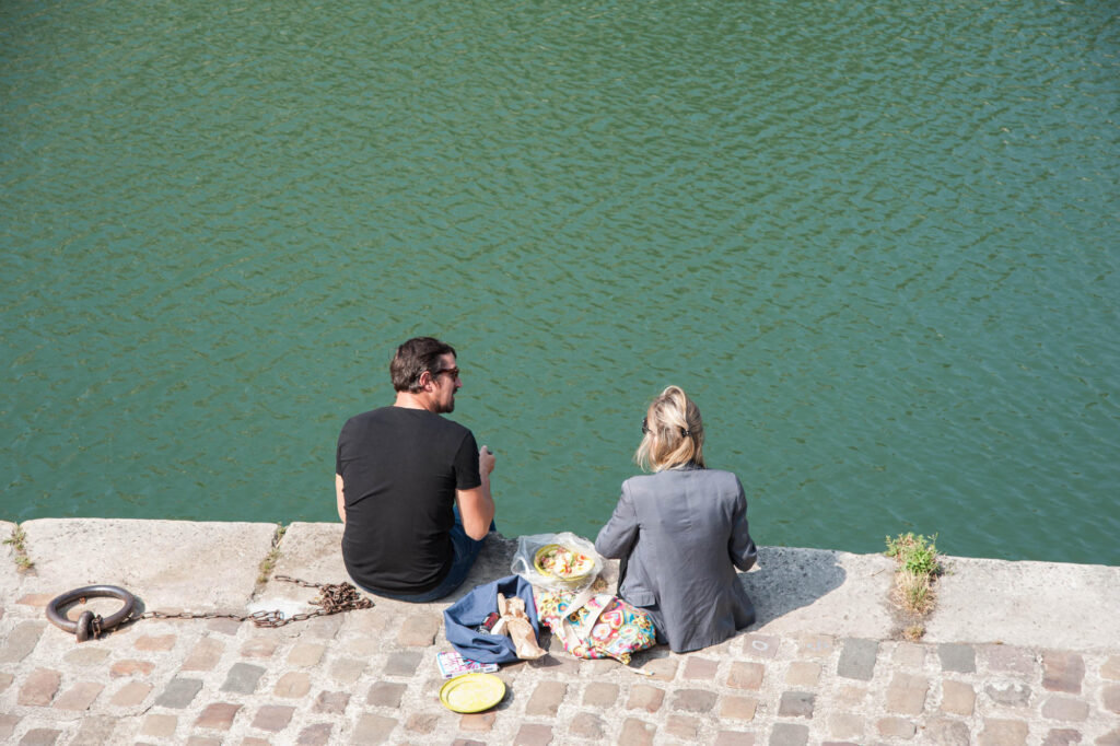 Man and Woman Having a Picnic in Paris