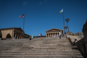 "Near the ""Rocky Steps"" at the Philadelphia Museum of Art"