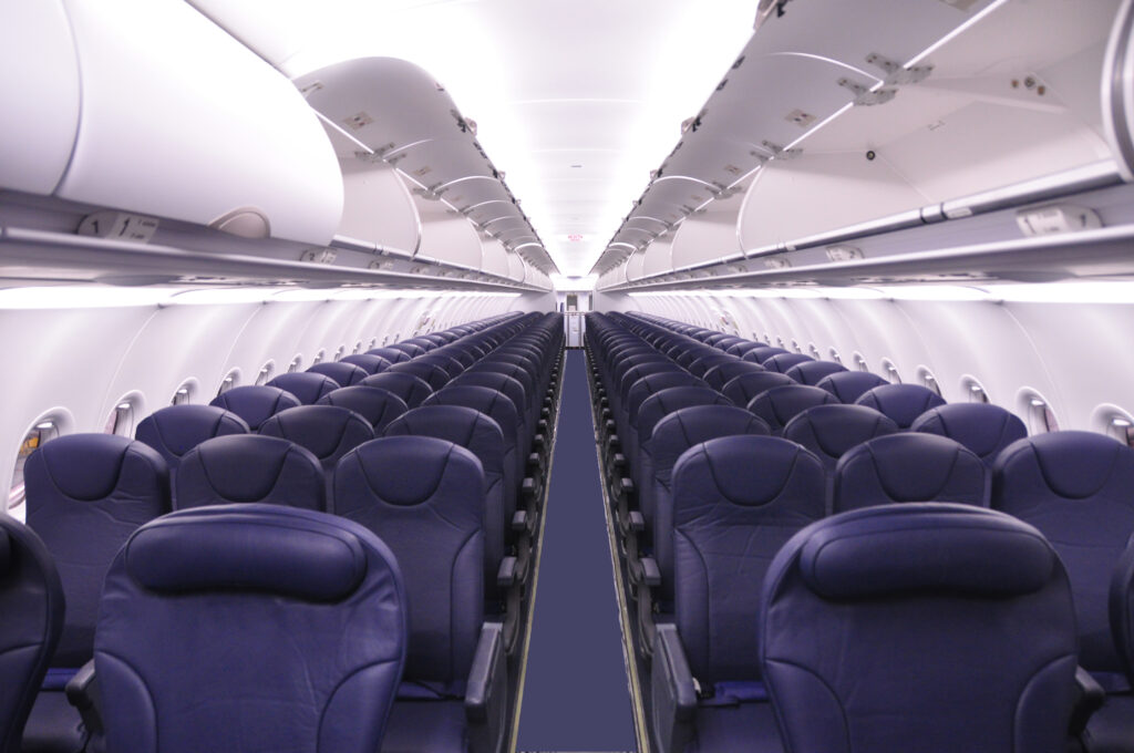 Interior of Spirit Airlines Airplane