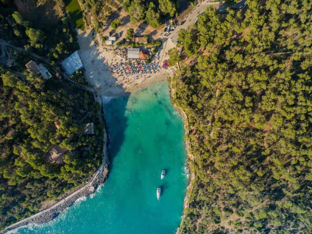 Cala Mondragó beach from above in Mallorca