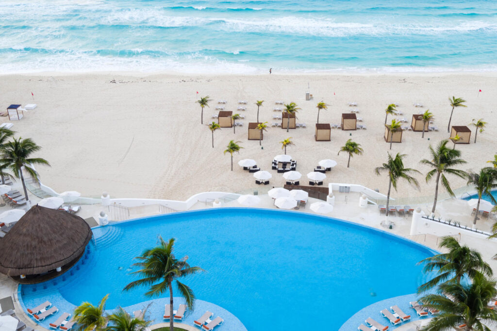 Le Blanc Spa Resort Cancun aerial pool and beach view