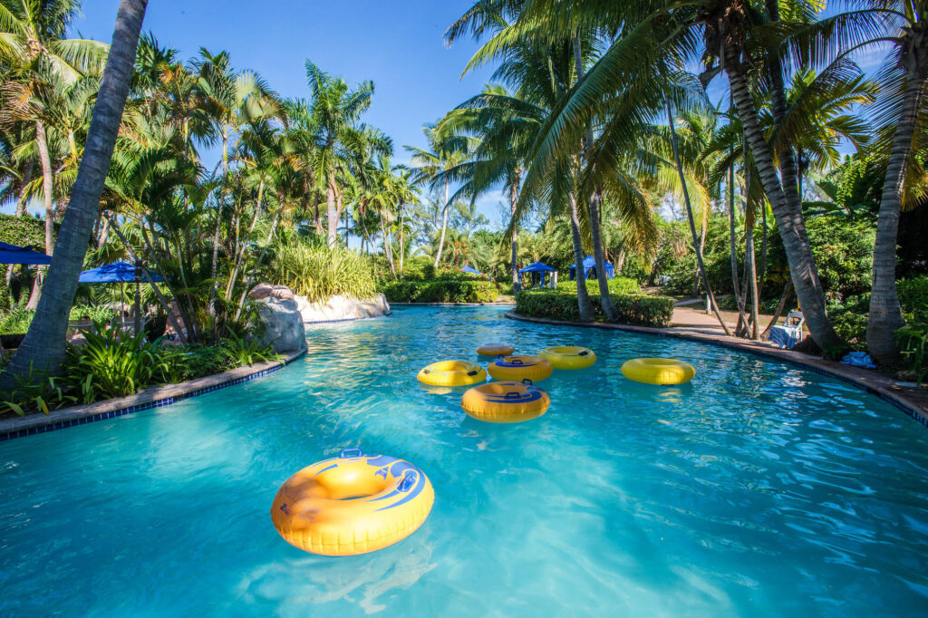 The lazy river at the Rose Hall Resort and Spa, a Hilton Resort