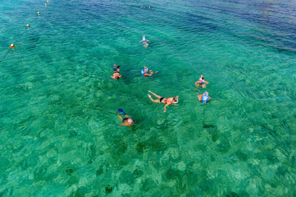 Aerial View of Snorkelers at Secrets Akumal Riviera Maya