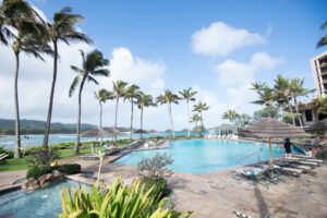 Pool and lounge area at Turtle Bay Resort