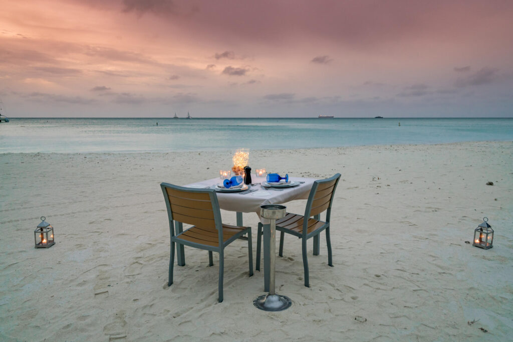 Romantic Dinner on the beach at The Ritz-Carlton, Aruba