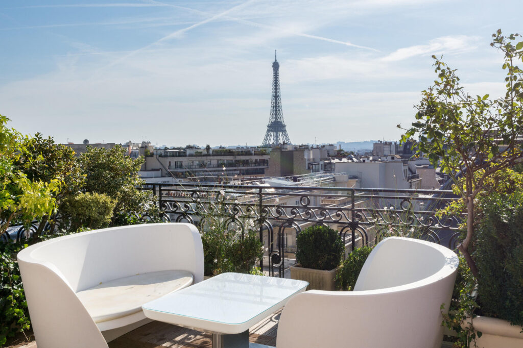 View of the Eiffel Tower From the Roof of the Hotel Raphael in Paris