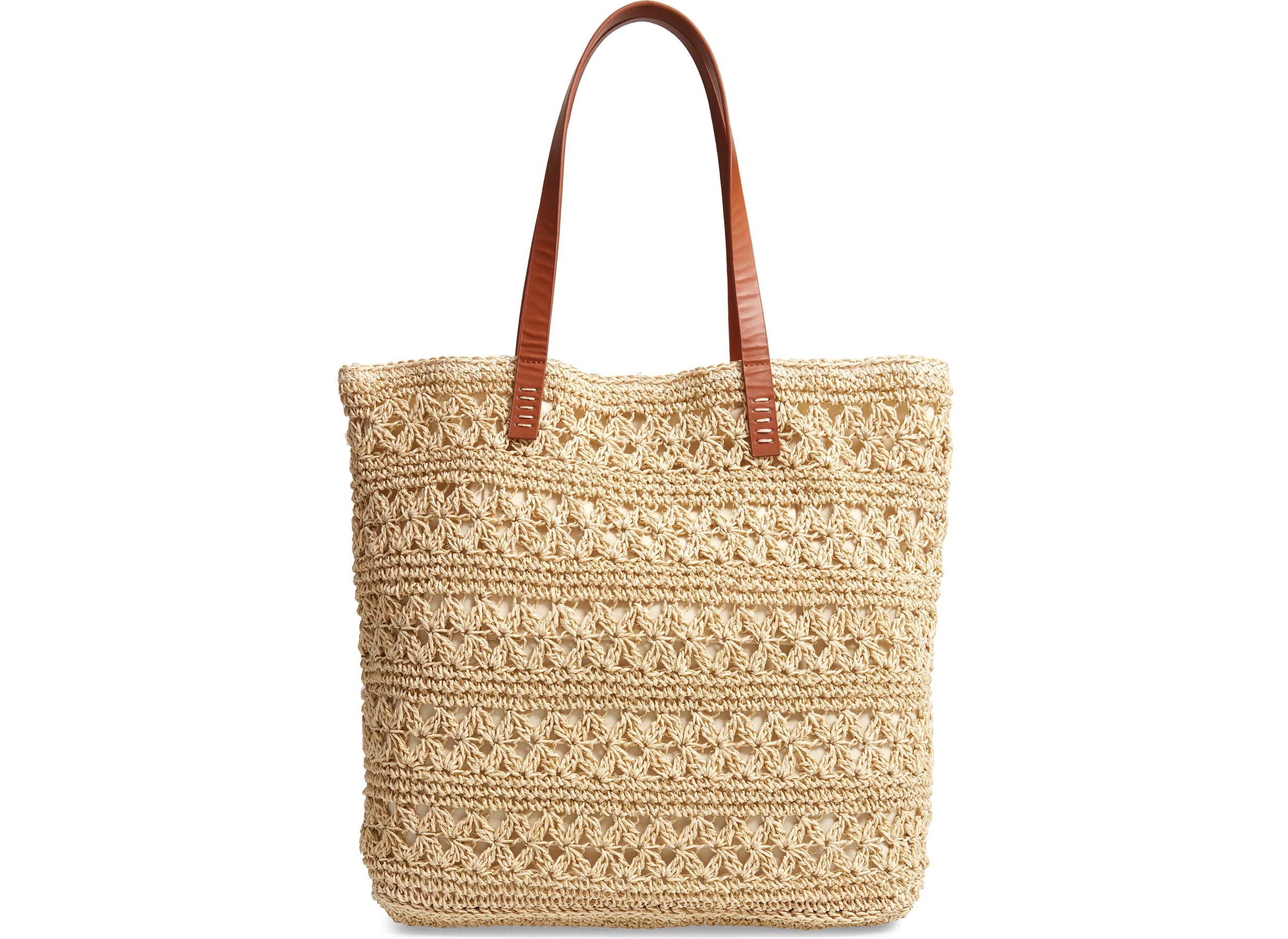 Packable Metallic Thread Woven Raffia Tote from Nordstrom