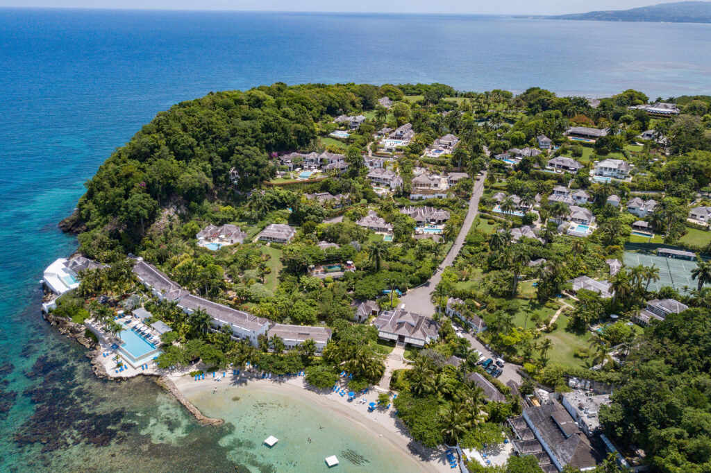 Aerial View of Round Hill Hotel & Villas montego bay jamaica