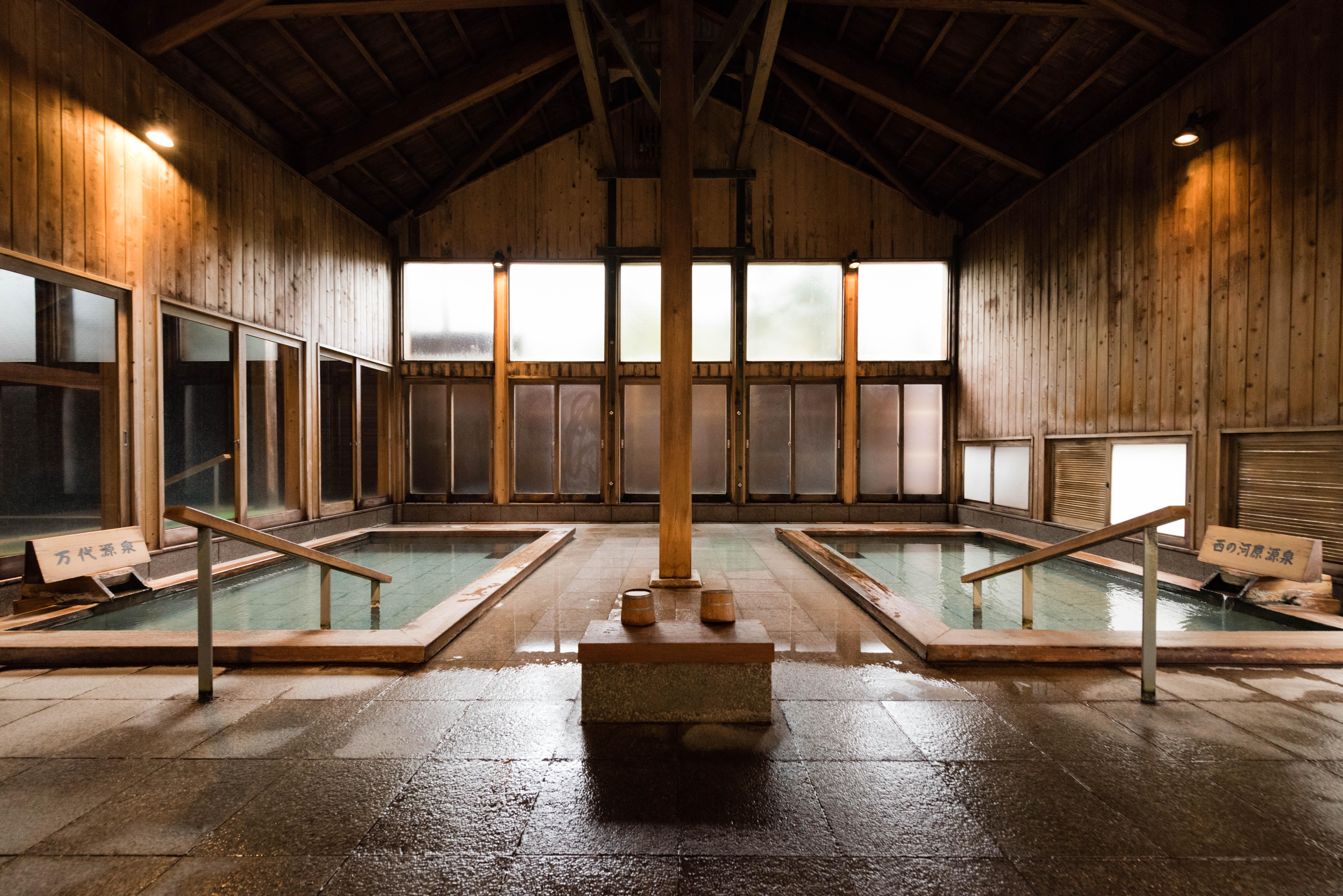 The baths at a traditional Kusatsu Onsen Boun in Japan.