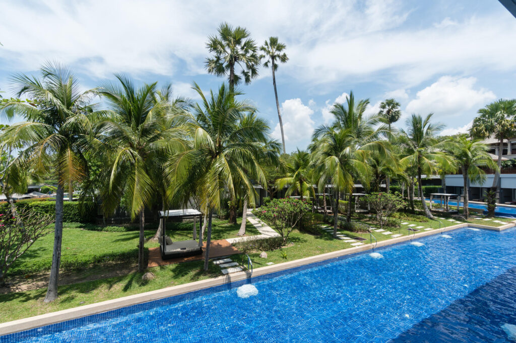 Pool view from the Deluxe Room at the Phuket Marriott Resort and Spa, Nai Yang Beach