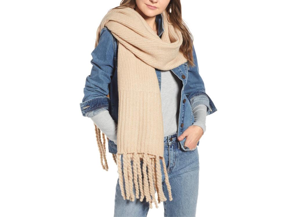 Free People Jaden Rib Knit Blanket Scarf