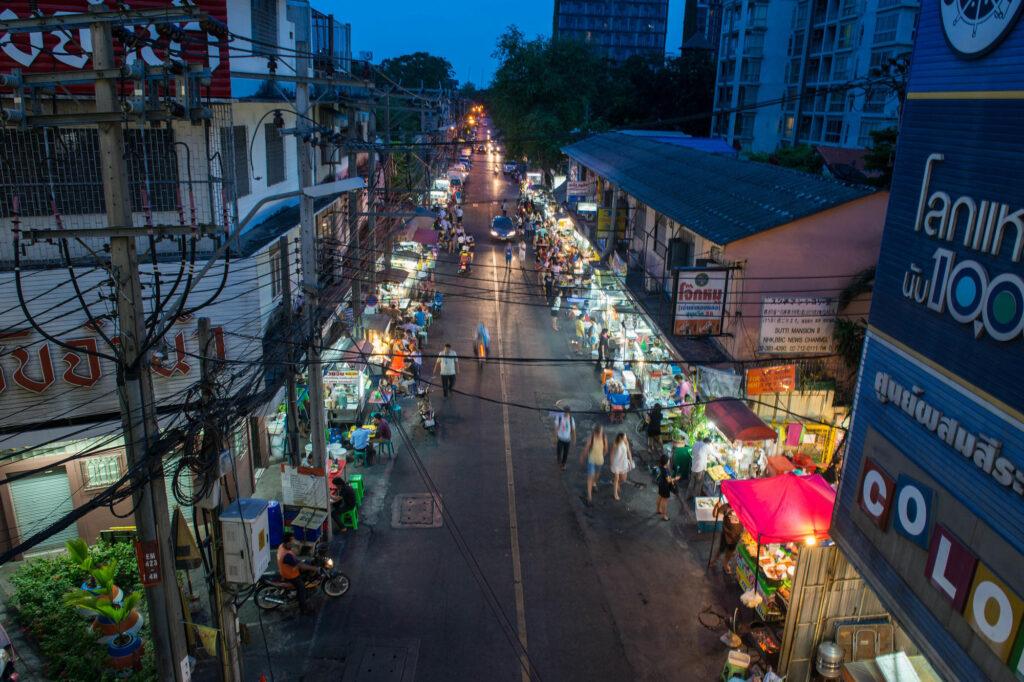 Street scene at night in Bangkok, Thailand