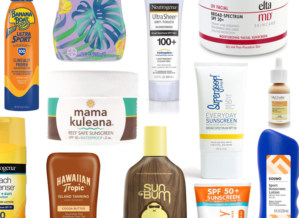 Different sunscreen options from Amazon