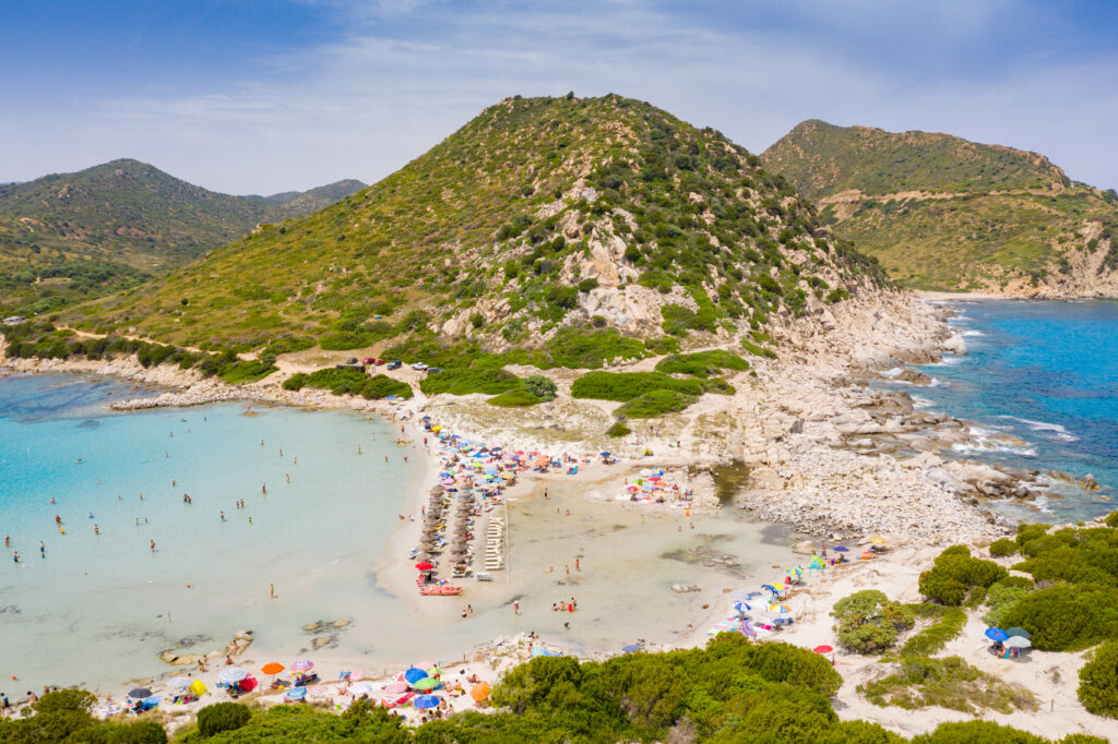 Punta Molentis Beach at the foot of the Sarrabus Mountain in Sardinia, Italy