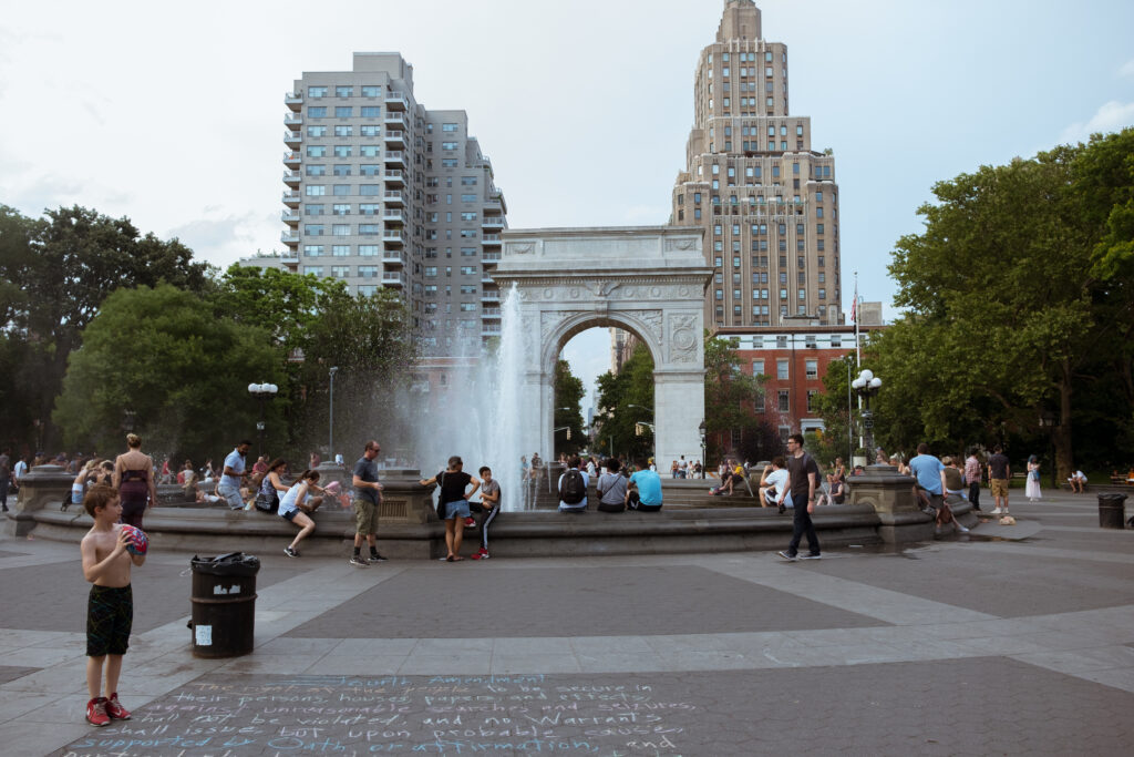 Washington Square Park in summer