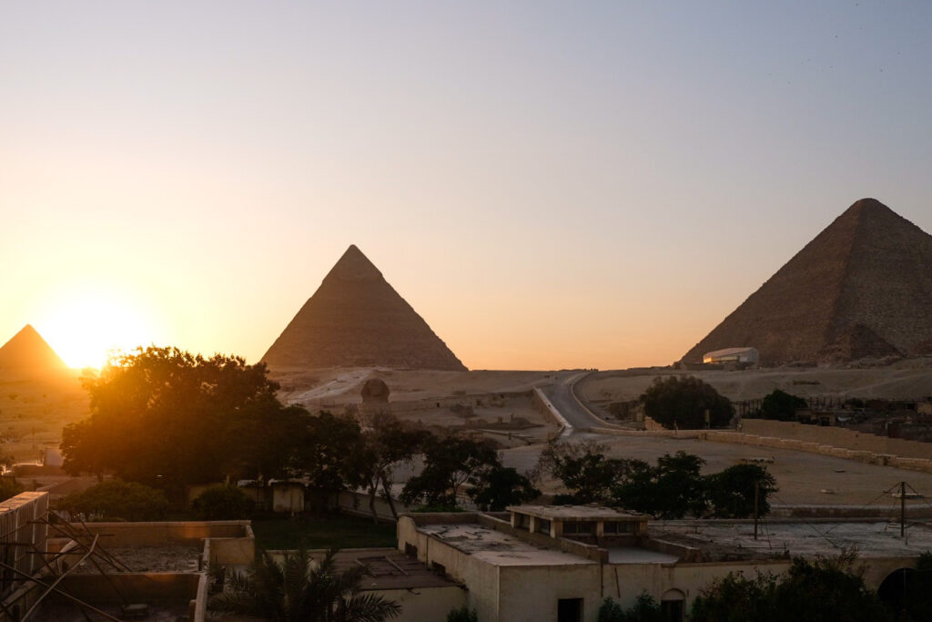 Pyramids of Giza, Cairo at sunset