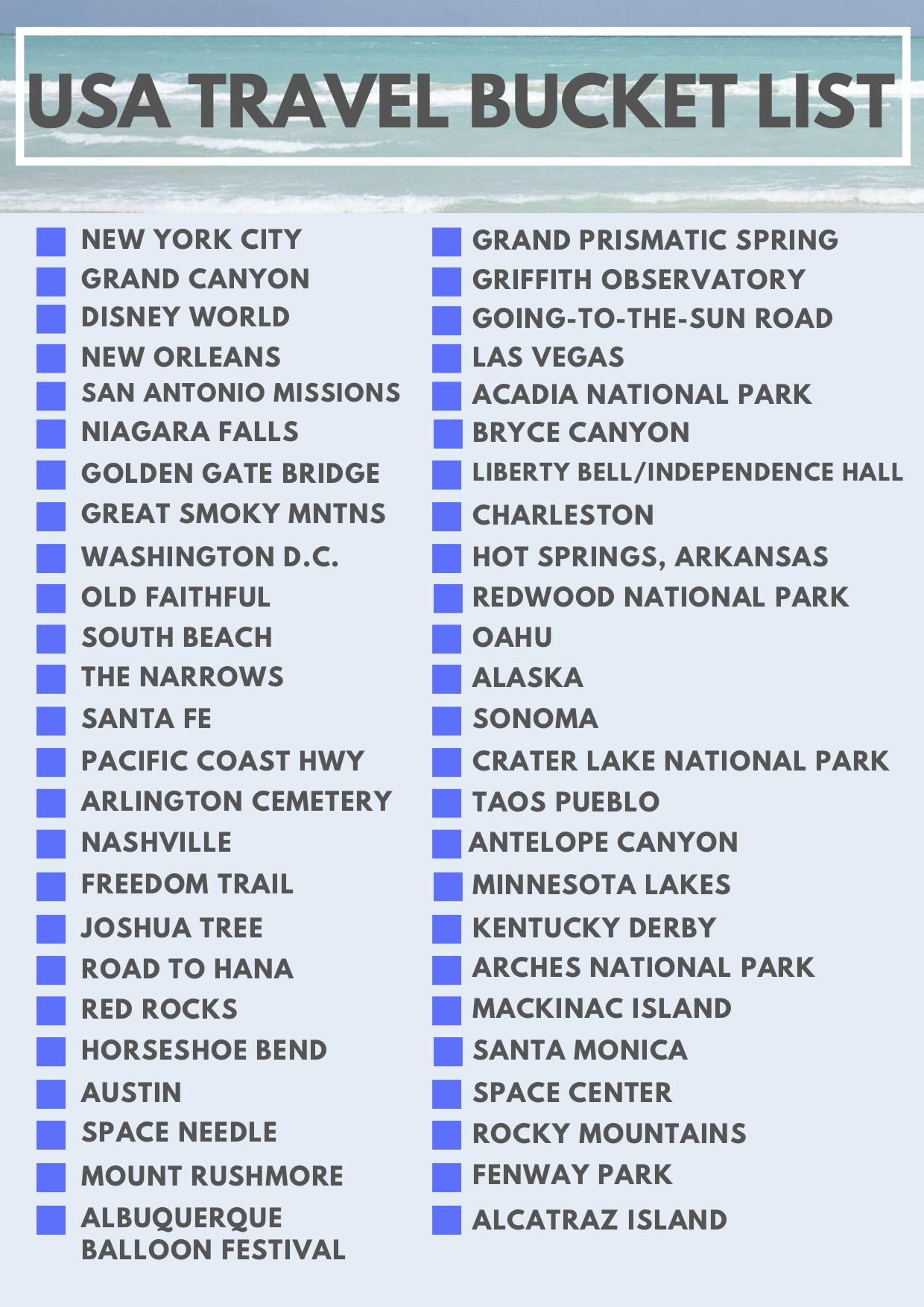 USA Travel Bucket List Checklist