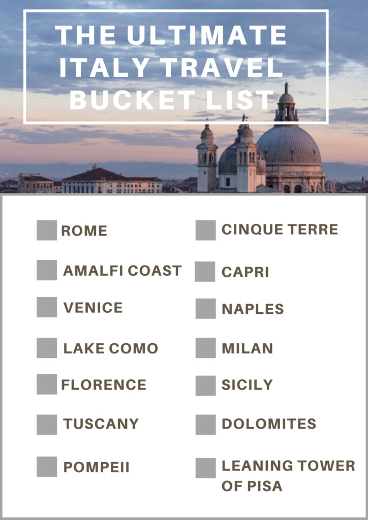 Ultimate Italy Travel Bucket List Checklist